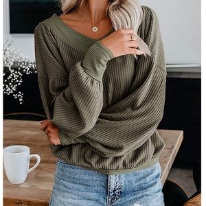 Sweaters - New V Neck Off The Shoulder Waffle Knit Pullover